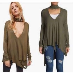Free People long sleeve turtleneck Top Army Small